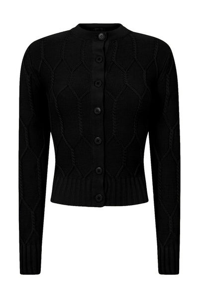 Banned Apparel-Cable Knit Black Cardigan