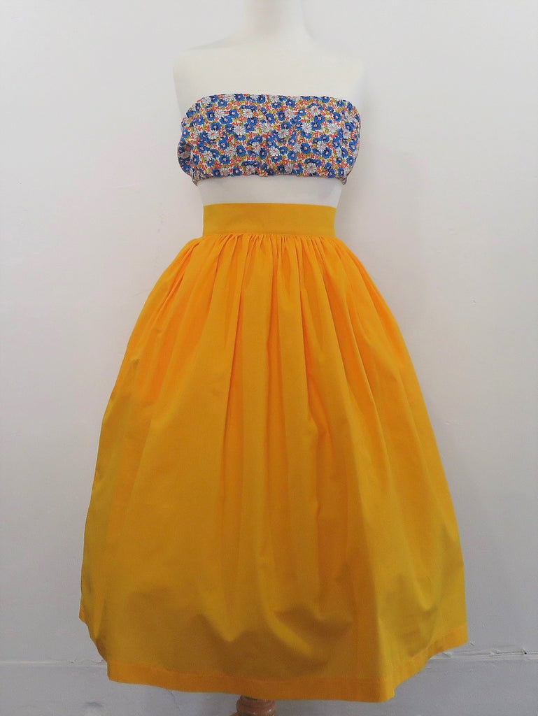 Skirt in Canary Yellow Cotton - Sale