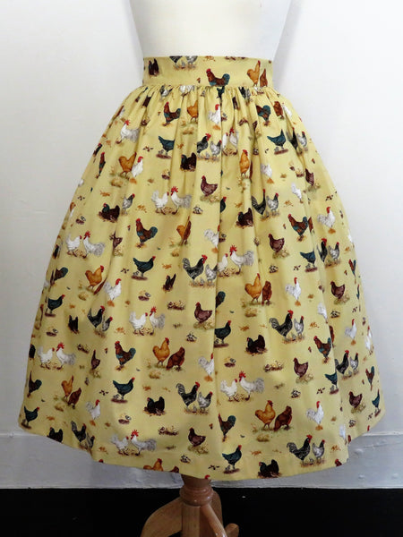 Skirt in Chook Print Cotton