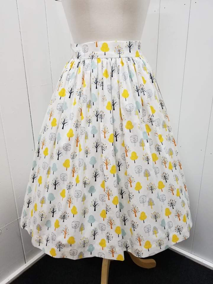 1950's Style Fall Trees Print Gathered Skirt