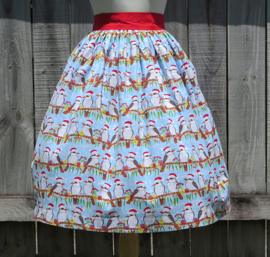 Christmas Skirt Kookaburra Cotton Print