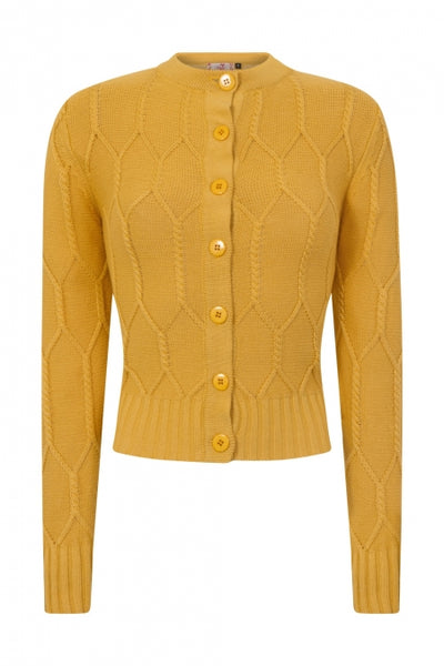 Banned Apparel Cable Knit Mustard Cardigan