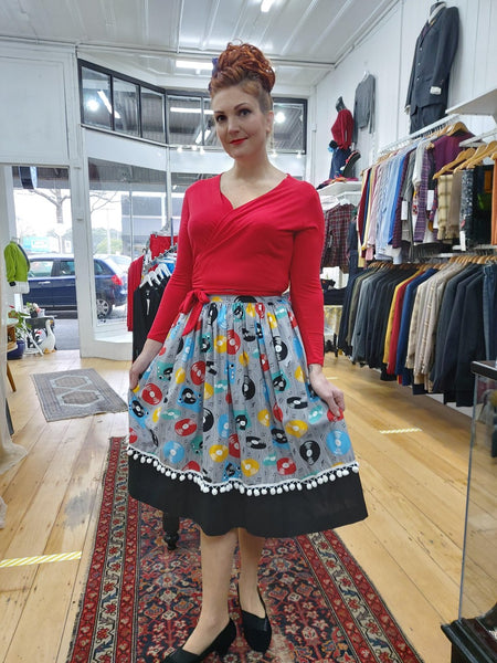 It's So You!-Retro Records Print Gathered Waist Skirt