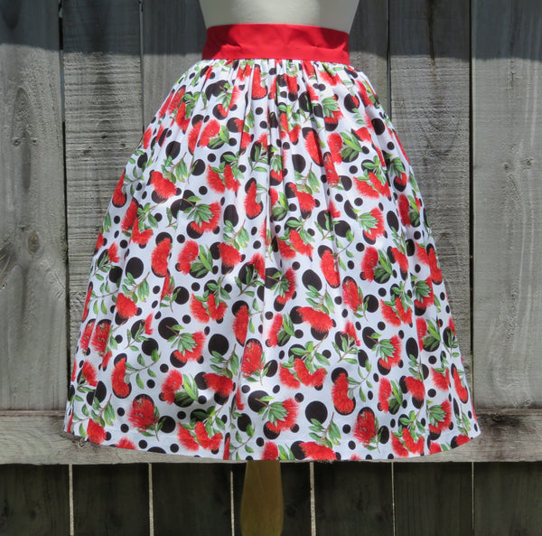 Christmas Skirt Pohutukawa Print Cotton