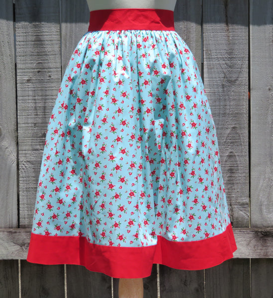 Christmas Skirt Poinsettia Print Cotton - Sale
