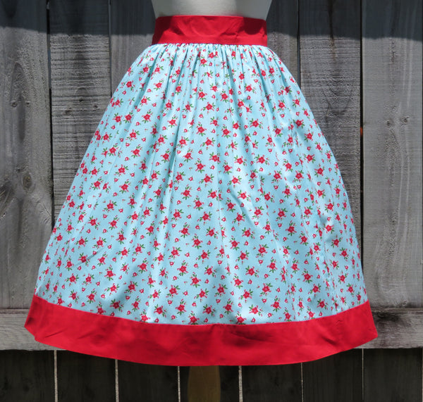 Christmas Skirt Poinsettia Print Cotton