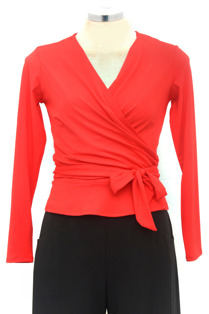 Retrospec'd-Lillian Wrap Top In Red