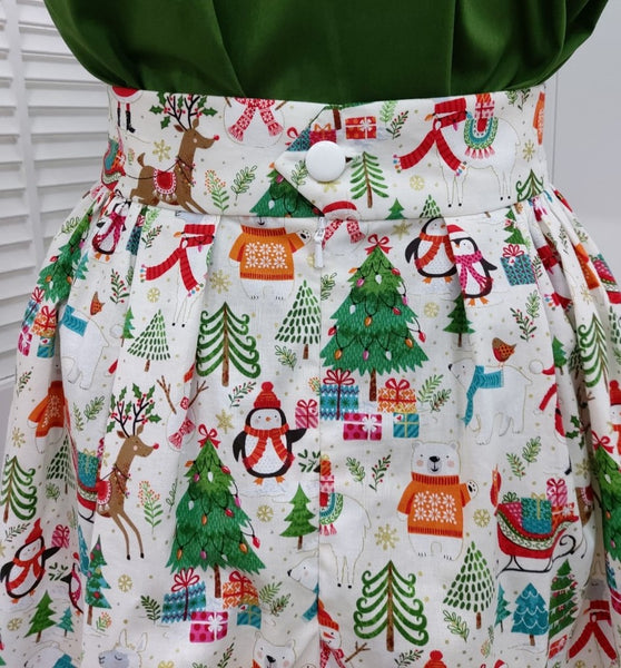 It's So You!-Christmas Print Skirt - Let it Snow