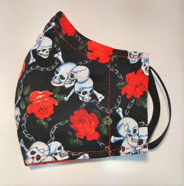 Face Mask in Happy Skull and Cross Bone Print