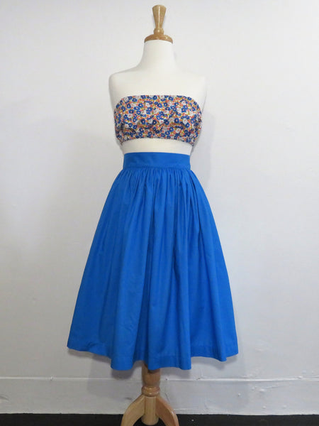 Skirt in Electric Blue Cotton - Sale