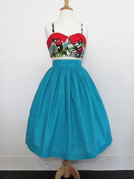 Skirt in Blue Teal Cotton - Sale