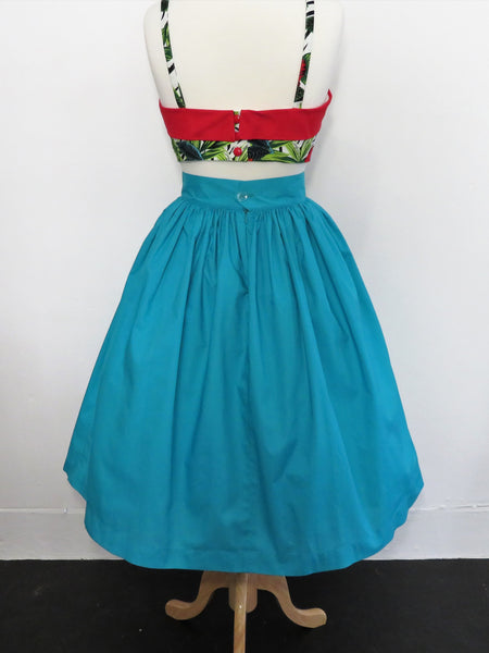 Skirt in Blue Teal Cotton
