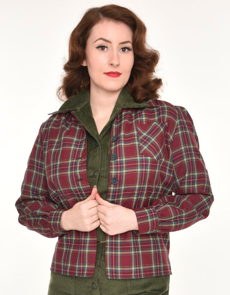Freddie's of Pinewood-1940's Style Burgundy Plaid Shirt