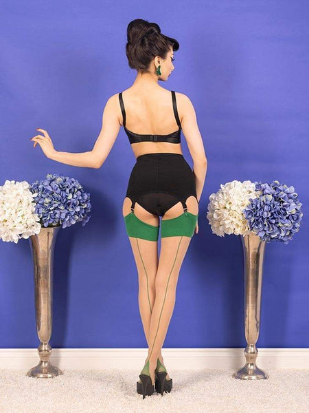 SEAMED STOCKINGS GREEN GLAMOUR
