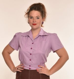 Freddie's of Pinewood-1940's Style Lilac Work Blouse