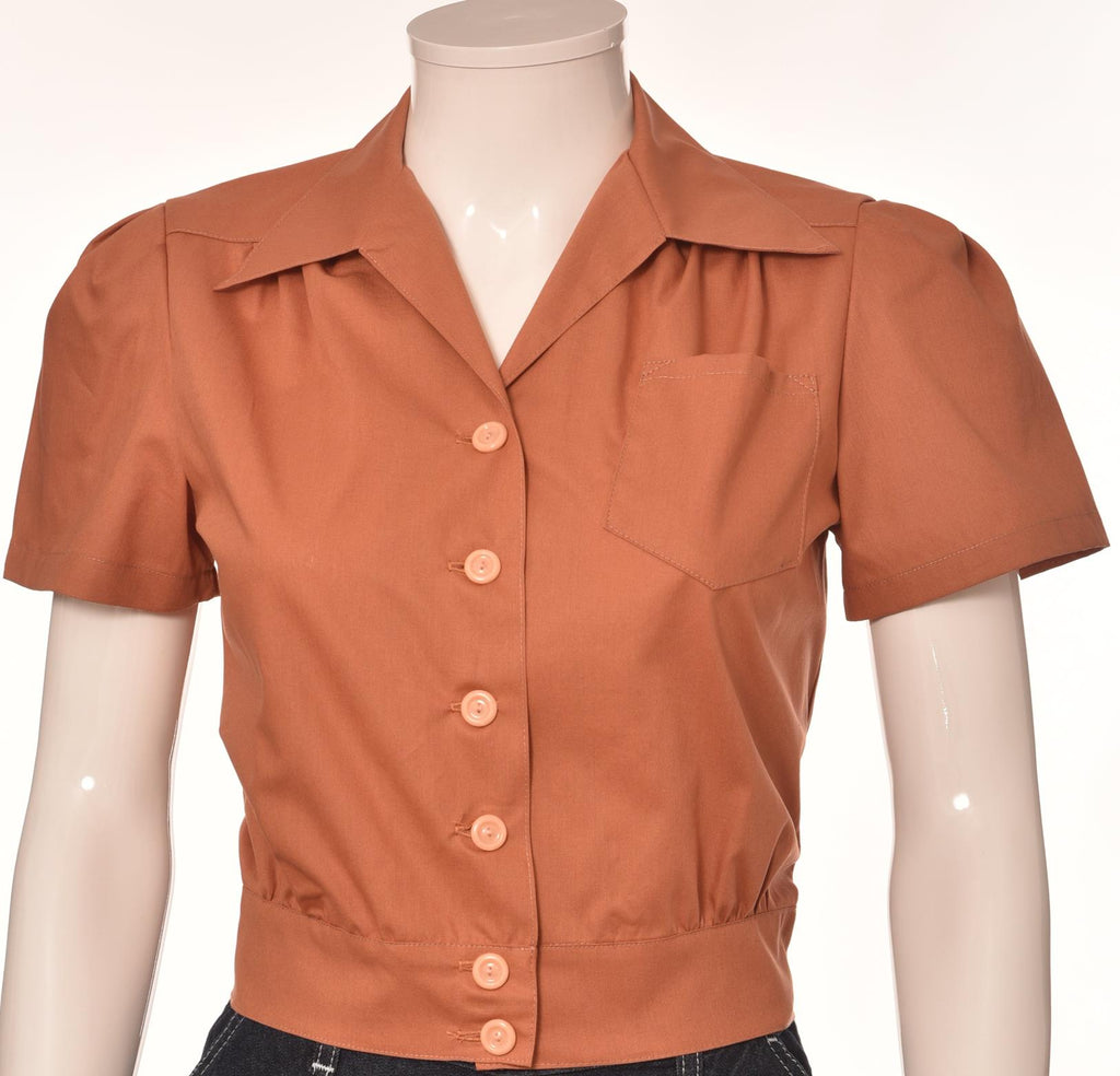 Freddie's of Pinewood-1940's Style Rust Work Blouse