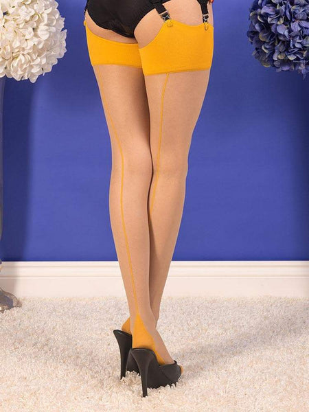 What Katie Did-Seamed Stockings Champagne Mustard