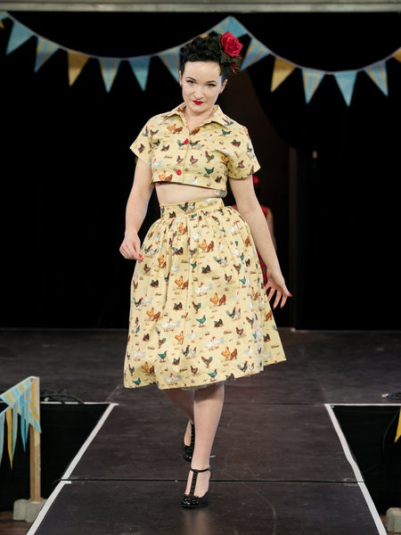 'Margie' Skirt in Cotton Chook Print