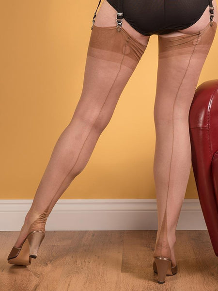 FULLY FASHIONED STOCKINGS POINT HEEL CHAMPAGNE
