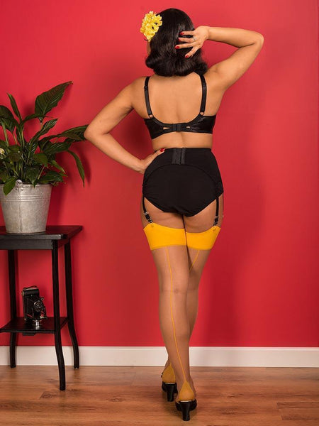 SEAMED STOCKINGS NUTMEG MUSTARD