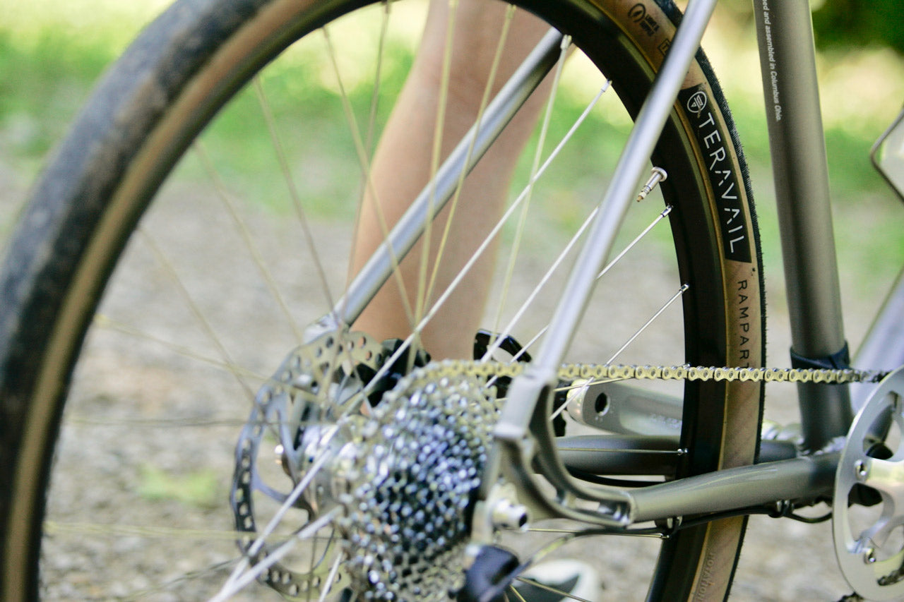 Detail of the roll: Bicycle Company GR:1 Gravel Road Bike with Teravail Rampart Gum Wall Tires