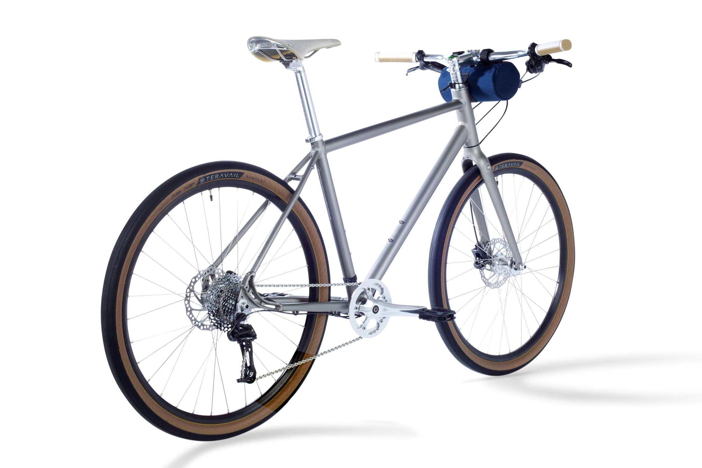 rear angled view of the new Gr:1 gravel road bicycle from roll: