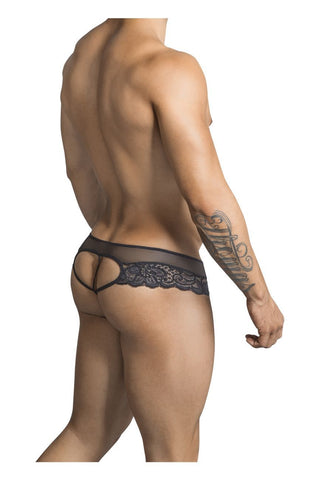 CandyMan - Lace Heart Thong (Black)
