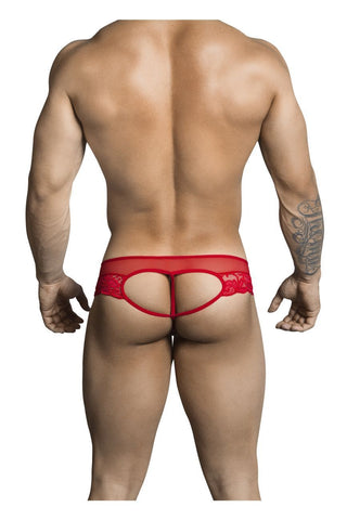 CandyMan - Lace Heart Thong (Red)