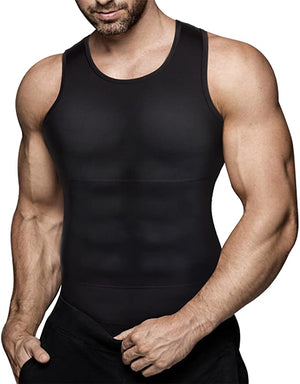 Mens Compression Shirt Slimming Body Shaper Vest Workout Tank Tops