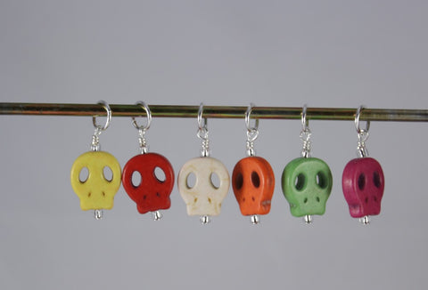 Colorful Stone Skull Stitch Marker Set
