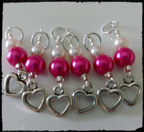Pink and White Heart Stitch Marker Set