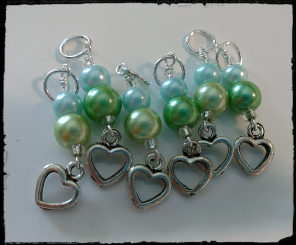 Green and Blue Heart Stitch Marker Set