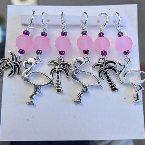 Flamingos and Palms Stitch Markers
