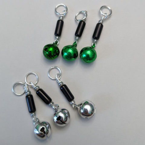 Green & Silver Bells Stitch Markers