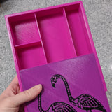 3D printed Notions Box--Skeletal Flamingo