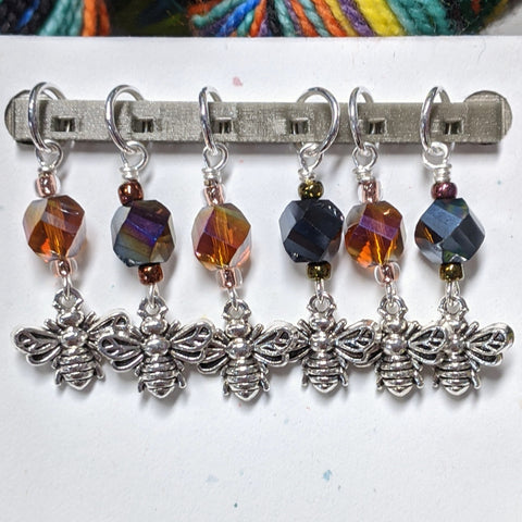 Glass Bee Stitch Markers