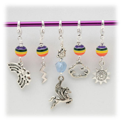 Rainbow Pony Stitch Marker Set
