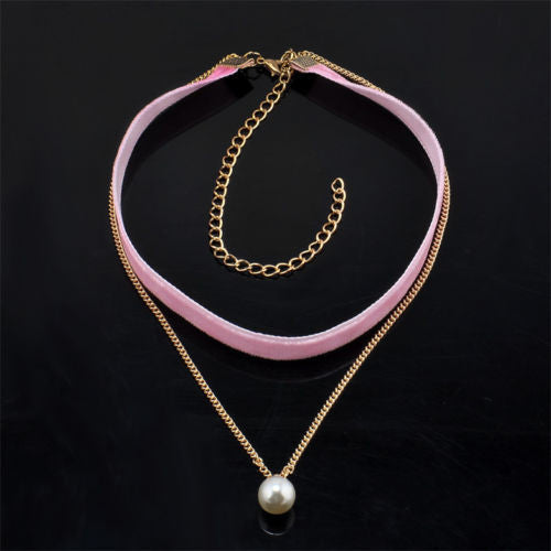 Velvet and Pearl Choker Necklace