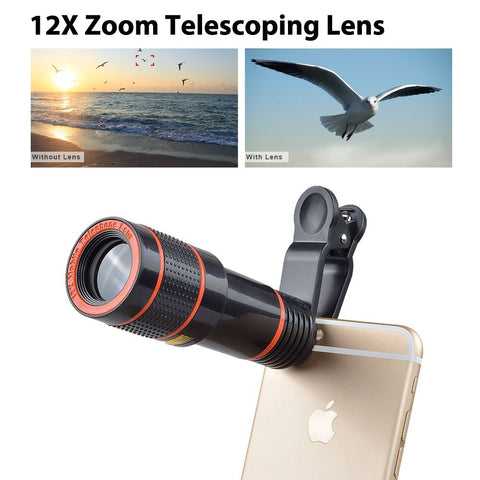 8in1 12X Zoom Camera 3in1 Clip On Lens Kit Set With Bluetooth Remote Control For iPhone And Samsung