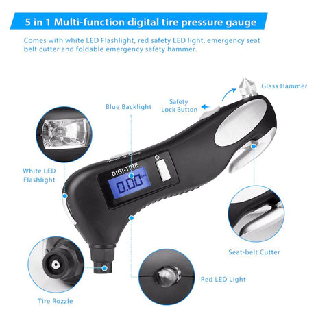 5 in 1 Digital Tire Pressure Gauge With LED Flashlight