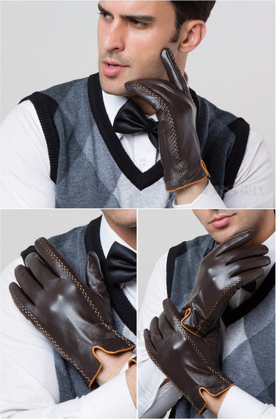 Men's Touch Screen Friendly Leather Gloves