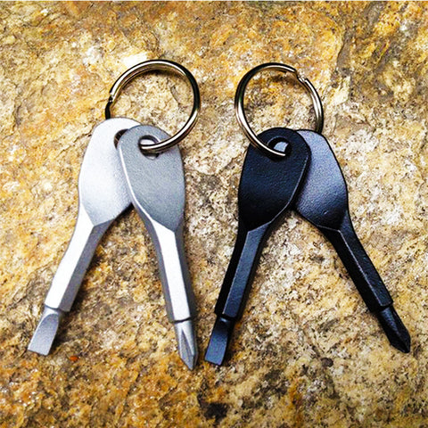 2 Keys Stainless EDC Key Chain Pocket Tool
