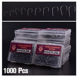 1000Pcs 10 Sizes Assorted Carbon Steel Fishing Bait Sharpened Fishhook