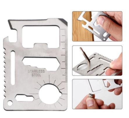 11 in 1 Multifunctional Credit Card Size Outdoor Survival Tool