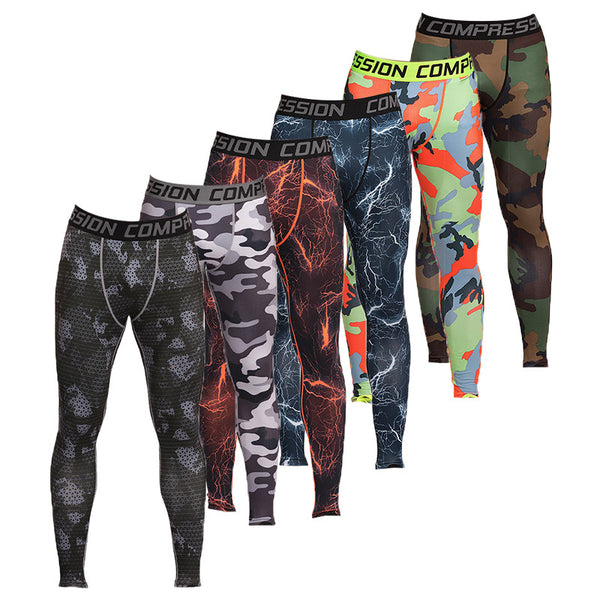 Mens Running Camouflage Compression Long Pants