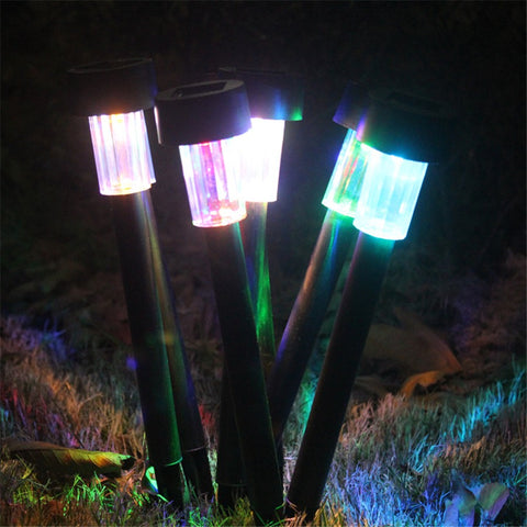 8pcs Stainless Steel Solar Powered  LED Path Light