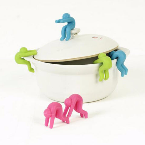 2pcs Anti Overflow Silicone Lid Holder Little People Pot Lid Raiser