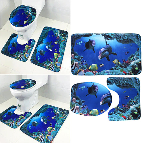3Pcs/set Bathroom Products Non-Slip Skidproof Pedestal Rug + Lid Toilet Cover + Bath Mat Blue