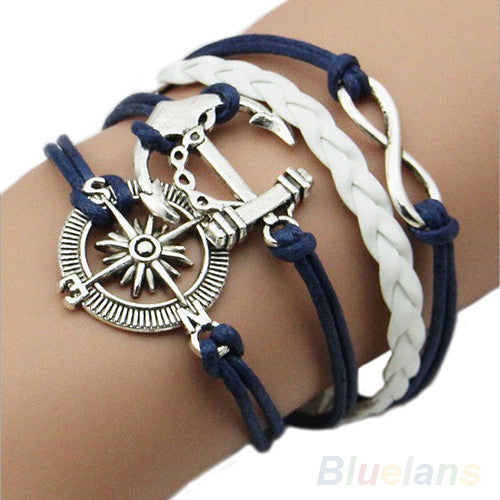 TST Kiera Silver Plated Infinity Love Anchor Leather Bracelet
