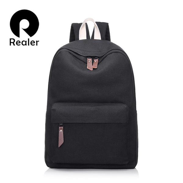 Women Candy Color Canvas Leather Backpack